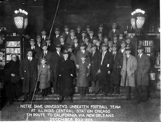 Coach Rockne and his undefeated 1924 team head west for the Rose Bowl, which included a stop in Arizona.
