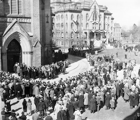 Funeral-Crowd Outside